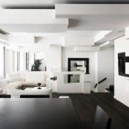 Стильная гостиная интерьер которой создавался с помощью гипсокартона