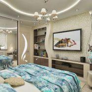 Шикарный дизайн спальни с гипсокартонными конструкциями