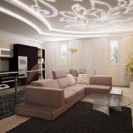Зонирование потолка за счет многоуровневой конструкции