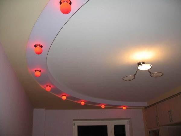 Дизайн потолка с полукругом