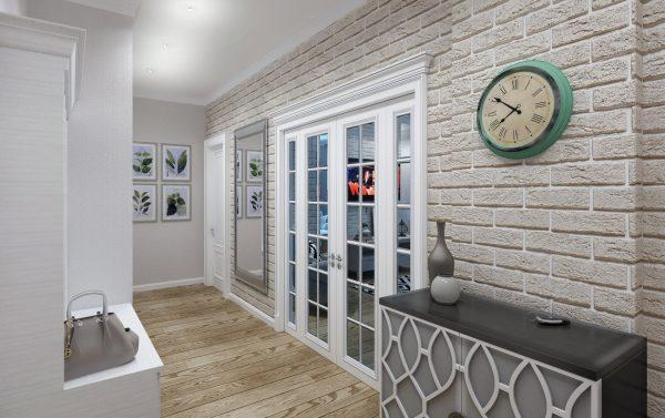 Декоративные кирпичики на стену в коридоре в скандинавском стиле