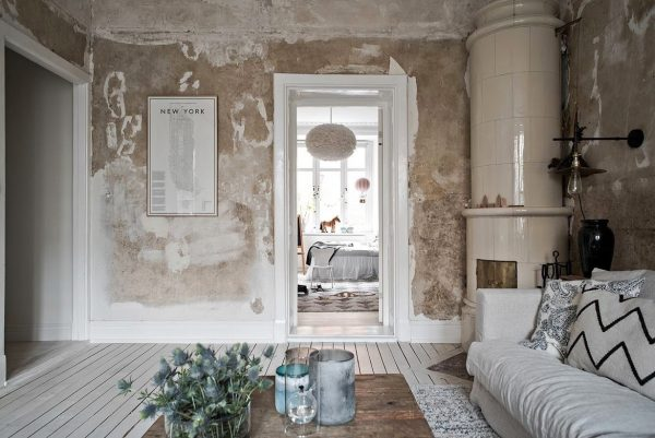 Сочетание мебели и стен